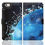 [iPhone6 6S 兼用 手帳型 ケース カバー カードポケット スタンド付]地球の街