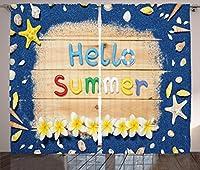 """(アンブソンヌ) Ambesonne窓用カーテン 昼と夜 夏と冬をテーマにした果樹が庭にあるプリントのアートワーク リビング ベッドルームの窓に パネル2枚セット マルチカラー 108"""" W By 84"""" L p_29002_108x84"""