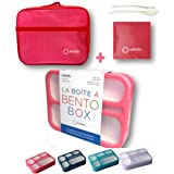 Bento Box with Lunch Bag and Ice Pack Set | Snack Containers Boxes for Kids Girls Adults | 6 Compartments Leakproof Portion C