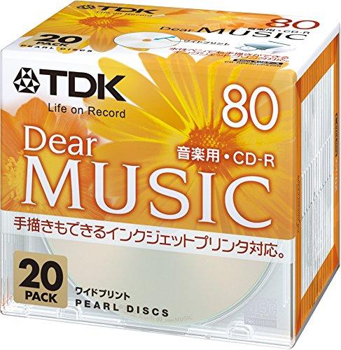 TDK Media TDK 音楽用CD-R 80分 インクジェットプリンタ対応 パールカラー ワイド印刷仕様 20枚パック 5mmスリムケース CD-RDE80PPX20N