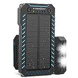 X-DRAGON ソーラー充電器 15000mAh パワーバンク 防塵 耐衝撃 デュアルUSB ソーラーパネル充電器 iPhone、Samsung、Galaxyなどのポータブル充電器 LEDライト付 (青)