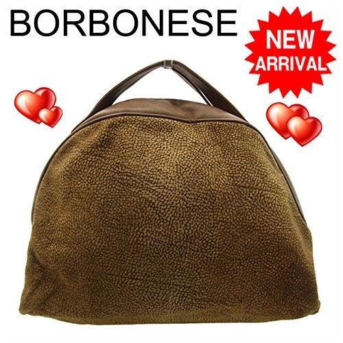ボルボネーゼ BORBONESE ハンドバッグ ブチ柄 ブラウン系 スエード×レザー 中古 F146