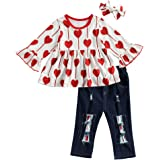3Pcs Kids Toddler Girl Valentine's Day Outfit Heart Print Tunic Tops Ripped Pants Jeans Headband Set
