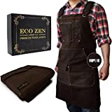 Shop Apron - Waxed Canvas Work Apron with Pockets   Waterproof, Fully Adjustable to Comfortably Fit Men and Women Size S to X