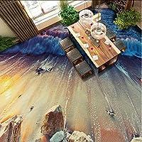 Wuyyii カスタムビーチ石波3Dステレオリビングルームバスルームバルコニー自己接着床装飾壁紙壁画-250X175Cm