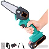 Mini Cordless Electric Chainsaw, 4-Inch Portable Handheld Saw with Rechargeable Battery, Wood Branch Cutter Gardening Tool fo