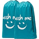 HOMEST Large Cartoon Travel Laundry Bag with Draw String, Jumbo Size [28''x40''], Printed with Wash Me, Green