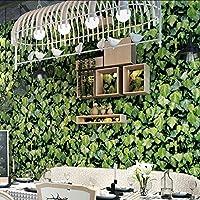 Lixiaoer レストランティーショップカフェの背景壁の装飾壁紙3D立体アイビーグリーンリーフ壁画壁紙3D-350X250Cm