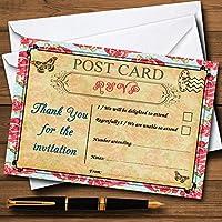 ピンク花柄ヴィンテージパリシックなはがきPersonalized RSVPカード 150 Cards