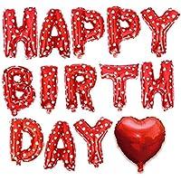 誕生日 バルーン 飾り付け HAPPY BIRTHDAY 風船 ハート 付き バースデー アルミバルーン 文字風船 (レッド)