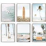 Coastal Wall Art Set of 6 Beach Prints, Summer California Print, Ocean Print, Beach Print, Van, Soft Pastel Art, Surfboard, P