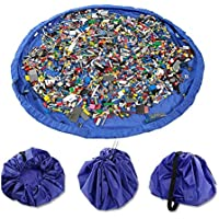 Children's Play Mat and Toys Storage Bag, XSLEGO Large 150cm Diameter Multi Purpose Kid's Activity Mat and Toys Organiser, Sturdy Canvas Material, Blue