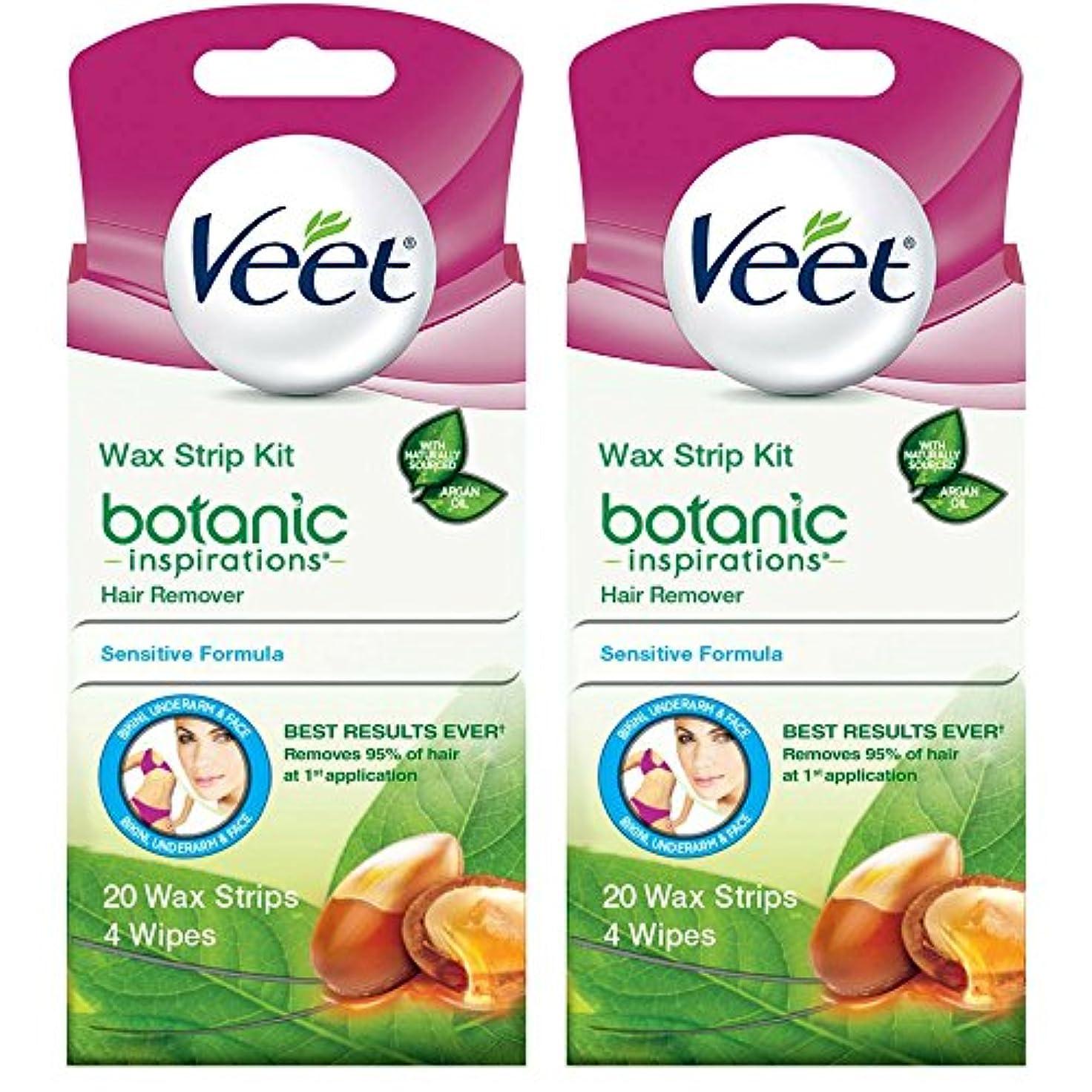 バランスのとれたスカルク貸す海外直送品 2箱 Veet Ready to Use Wax Strips Hair Remover for Body, & Face - 20 回分