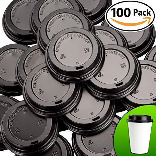 プレミアム、リサイクル可能ブラックドーム蓋100パックby Avant Grub。OneサイズFits All Travel Lid for 10、12、16、20オンスto Go Drinkカップ。Includesホット内容警告。For Cafes And Take Outコーヒーショップ。