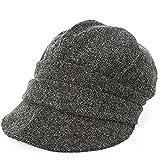 クイーンヘッド AWシャイニングキャスケット 大きいサイズ 小顔 帽子 レディース キャスケット つば長 つば広 UV 紫外線対策 【BIGサイズ(61-64cm)-ブラック】
