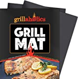 Akimy Grill Mat - Set of 2 Non Stick BBQ Grilling Mats - Heavy Duty, Reusable, and Easy to Clean - Extended Warranty