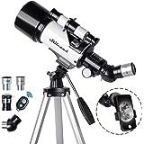 Telescope 70mm Travel Scope 500mm AZ Mount, Astronomical Refractor Telescope Aperture for Kids Adults & Beginners, Fully Mult