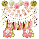 (Pink 1) - Pink and Gold Birthday Party Decorations, Balloons, Pom Poms Flowers, Birthday Banner, Paper Garland, Tassels, Hanging Swirl for 1st Birthday Girl Decorations by Litaus