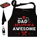 West End Warehouse Dad BBQ Apron, Funny Apron, Grill Apron, Chef Apron, Black Kitchen Apron with 3 Pockets, Bottle Opener, To