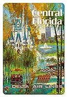 22cm x 30cmヴィンテージハワイアンティンサイン - セントラルフロリダ - オーランド - ウォルトディズニーワールドリゾート - デルタ航空 - ビンテージな航空会社のポスター によって作成された ジャック・レイコックス c.1960s