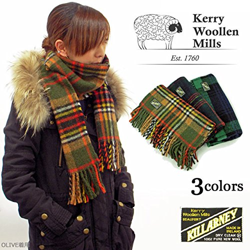 【Kerry Woolen Mills ケリーウーレンミルズ】KILLARNEY 100%ウールチェックマフラー
