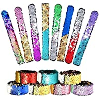Nrpfell 16 Pcs Magic Sequins The Mermaid Bracelets 2Color Sequin Reversible Glitter Slap Bracelets Charms Wristband for Kids Little Mermaid Birthday Party (Random Colors)