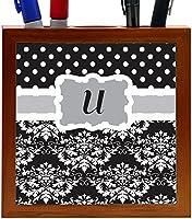Rikki Knight Rikki Knight Initial U Grey Black Damask Dots Design 5-Inch Tile Wooden Tile Pen Holder (RK-PH44537) [並行輸入品]