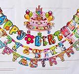 誕生日 飾りつけ バナー iSportgo 2.1M長さ「Happy Birthday」アルファベット カラフル紙カード バナー  可愛い熊ちゃん図案つけ バースデー 飾り パーティー 装飾