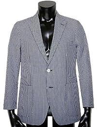 【CHAPS】チャップス 「シアサッカー」ギンガムチェックカジュアルジャケット 紺×白 size S