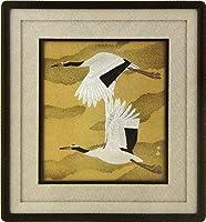 『二羽鶴』電鋳製 ・動物画・【その他の絵画】【R1694】
