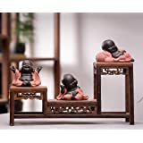 Kingzhuo A Collection of Cutie 3 Buddhas Lovely 3 Style Smiling Buddha Laughing Buddha Statue Great Details Giftable Make You
