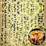 84 FT Artificial Ivy 12 Pack Ivy Vine Garland Ivy Leaves Greenery Garlands Hanging with 100 LED String Light Leaf Plants Faux Green Flowers Decor for Home Kitchen Garden Office Wedding Wall