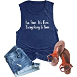 Anbech Its Fine Im Fine Everything is Fine Tank Tops Women Sleeveless Letter Print Saying Shirts