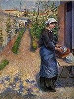 手描き-キャンバスの油絵 - young woman washing plates 1882 カミーユ・ピサロ 芸術 作品 洋画 ウォールアートデコレーション -サイズ10