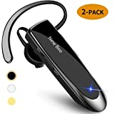 [2 Pack] Bluetooth Earpiece Wireless Handsfree Headset New Bee 24 Hrs Driving Headset 60 Days Standby Time with Noise Cancell