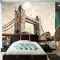 Mbwlkj 3D 写真の壁紙ヨーロッパのファッションロンドンブリッジレストランラウンジの背景の壁紙の壁画のブリティッシュスタイルのバーの壁紙-400Cmx280Cm