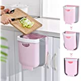 SOFTNIE Kitchen Hanging Trash Can,Collapsible Small Garbage Bin for Kitchen Cabinet Cupboard Door, Portable Folding Home Outd