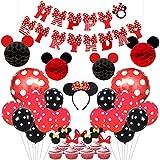 誕生日飾り付け 可愛いミニー ディズニー HAPPY BIRTHDAYバナー ヘアバンド ミッキーハニカムボール ドットアルミラテックスバルーン 赤い黒い 女の子 子供 100日 半歳 1歳 12歳誕生日飾り イベント飾り 部屋装飾