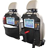 Oasser Kick Mats Car Seat Back Protectors Back of Seat Organizers 2 Pack XL with 1 Tissue Box Clear 10 inches Ipad Holder 3 L