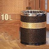 LJ ゴミ箱はダブルレザーゴミ箱ができますステンレス鋼は10L円筒ゴミ箱ファッションアイデアリビングルームベッドルームキッチンバスルームストレージバレル ( サイズ さいず : No cover )