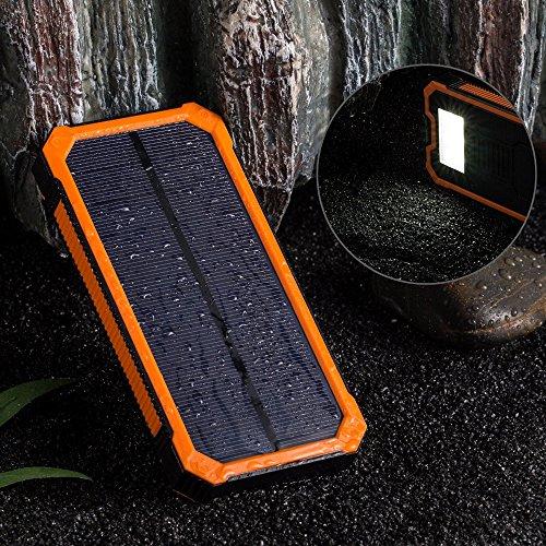 (サンヤンガー)Sunyoungerモバイルバッテリー 12000mAh ソーラーチャージャー 2USB出力ポート 二つの充電方法 6個LED付き iPhone、iPad、iPod、Samsung デバイス、HTCフォン充電ができる、旅行・ハイキングや地震・災害時が必要なもの (オレンジ)
