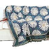 Unigarden.Ju アメリカ式 欧米風 田舎風 フリンジ付き 綿製品のブランケット 多機能 タオルケット (180X230, 菊/ホワイト)