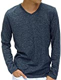 (マルカワジーンズパワージーンズバリュー) Marukawa JEANS POWER JEANS VALUE Tシャツ メンズ ブランド 長袖 ロンT 無地 Vネック 杢 スタイリッシュ 霜降り柄 5color L ネイビー