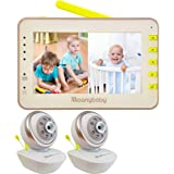Video Baby Monitor 2 Cameras, Split Screen by Moonybaby, Pan Tilt Camera, 170 Degree Wide View Lens Included, 4.3 inches Larg