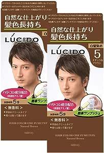 【まとめ買い】ルシード(LUCIDO)ワンプッシュケアカラー ナチュラルブラウン 2個パック メンズ用 無香料 白髪染め ショートヘア約4回分