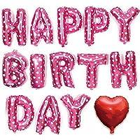 誕生日 風船 バースデー バルーン HAPPY BIRTHDAY ハート付き アルミバルーン 文字風船 (ピンク)