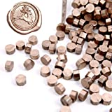 UNIQOOO Arts & Crafts 180 Pcs Metallic Champagne Gold Box Sealing Wax Beads Nuggets for Wax Seal Stamp, Great for Embellishme