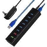 8-Port USB Hub, TOPESEL 36W 6 High Speed USB3.0 Data Transfer Ports, 1 BC1.2 and 1 Smart Charging Ports USB Hub USB Splitter