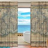 alireaワールドマップチュールポリエステルドアボイルウィンドウカーテン薄手のカーテンパネルの寝室装飾リビングルームドレープ、55x 84インチ、2パネルセット 55x84x2(in)