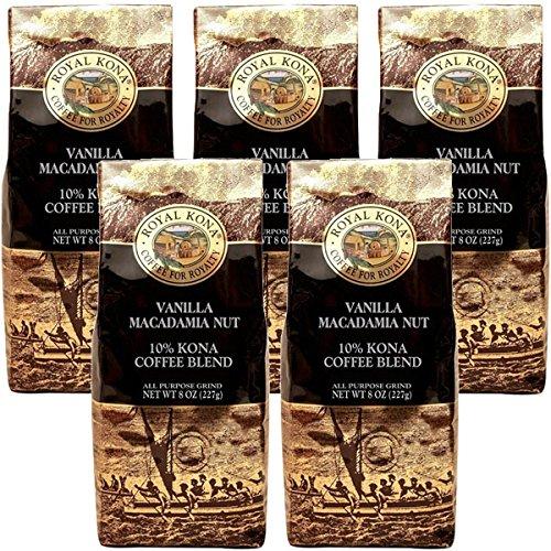 (ロイヤルコナコーヒー) バニラ マカダミアナッツ フレーバー コナブレンド コーヒー 227g×5パック (粉)